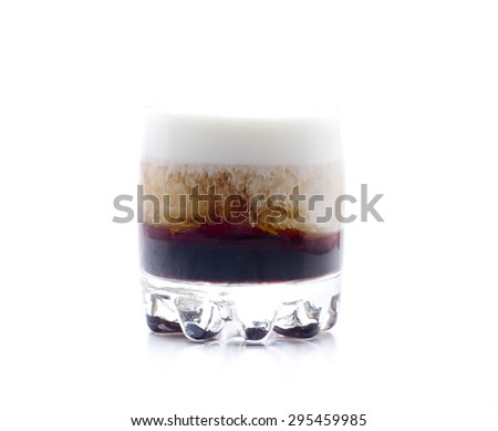 a cocktail made up, vodka, coffee liqueur and cream - stock photo