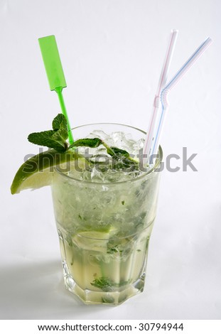 A cocktail on a white background