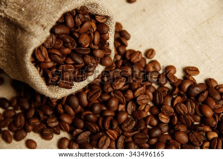 a coffee beans background - stock photo