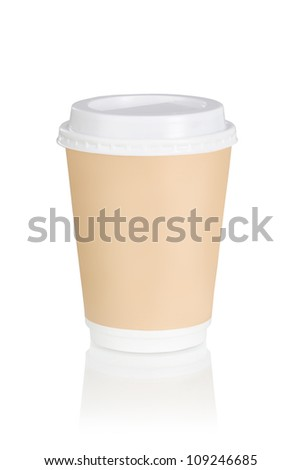 A coffee cup over white background (clipping path) - stock photo
