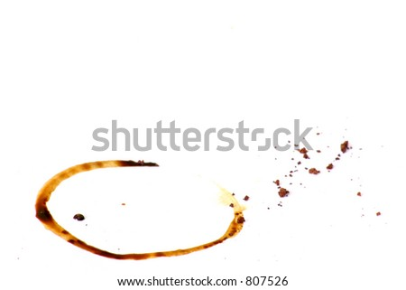 A coffee mug stain on a paper