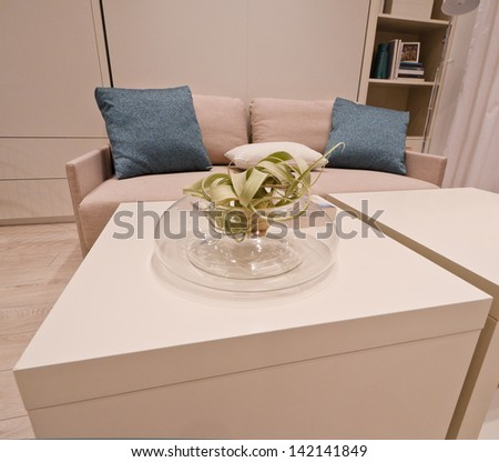 A coffee table with the vase and the couch, sofa at the background. Interior design. - stock photo
