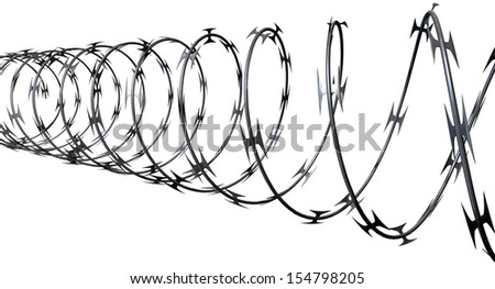 A coil of razor wire on an isolated white background