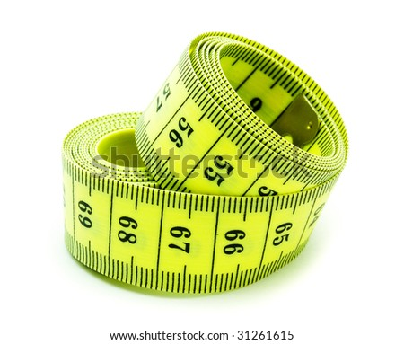 A coiled yellow measuring tape on white background