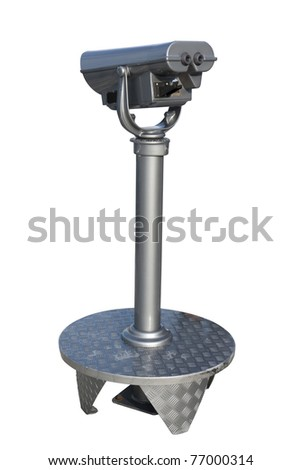 A coin operated binocular  isolated on white. - stock photo