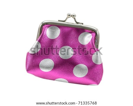A coin purse isolated against a whitebackground - stock photo