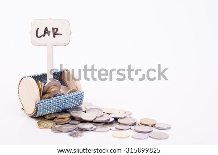"A coins money from small box with white background and have a signage ""car"" - stock photo"
