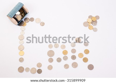 "A coins money from small box with white background and write wording ""car"" - stock photo"