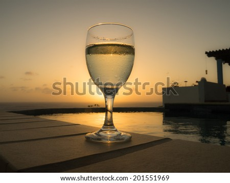 A cold glass of white wine Curacao - Dutch Antilles - Caribbean
