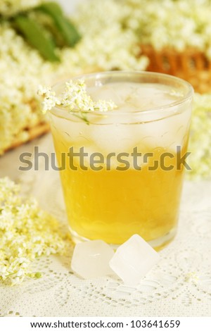A cold refreshing summer drink made from elder flowers and mint - stock photo