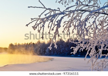 A cold winter day by the lake - stock photo
