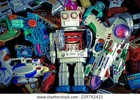 a colection  of old toys - stock photo