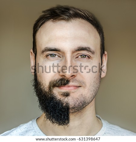 Collage beautiful portrait man full beard stock photo 631398647 a collage of a beautiful portrait of a man with a full beard and no beard urmus Image collections