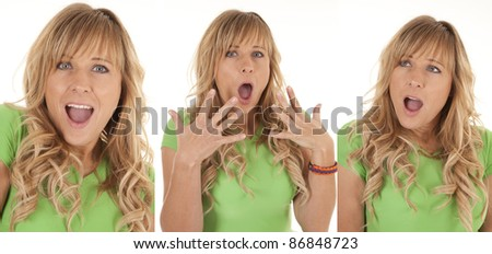a collage of a woman showing her shocked and surprised reactions. - stock photo