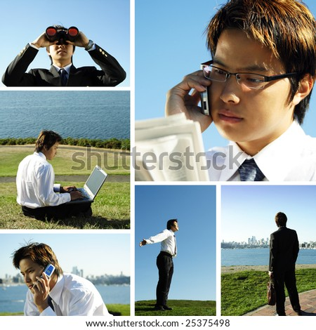 A collage of an asian businessman working outdoor - stock photo