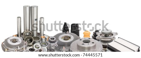 a collage of auto spare parts, as a border, over white - stock photo
