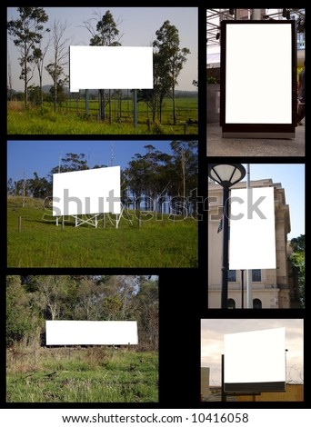 A collage of billboard shots. The background is easily removed. Buy one and get the lot. I have heaps like this. - stock photo