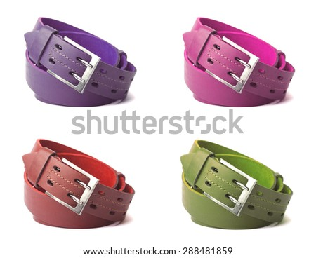 A collage of colored leather belts - stock photo