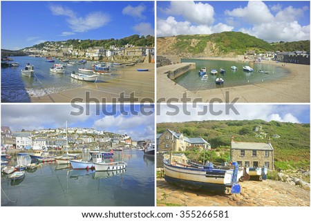 A collage of Cornish fishing harbors, Mousehole, Polkerris, Mevagissey and Penberth Cove, in summer, Cornwall, England, United Kingdom - stock photo