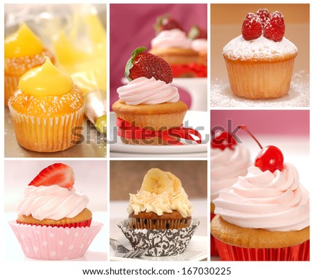 A collage of delicious cupcakes including lemon, strawberry, banana, raspberry and vanilla - stock photo
