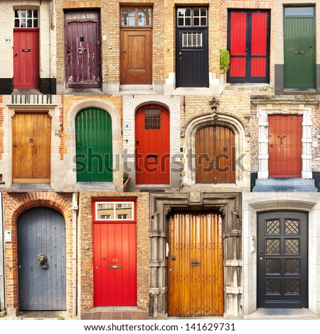 A collage of 15 different European front entrance doors from the town of Bruges in Belgium. - stock photo