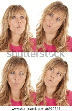A collage of different facial expressions of a fish face. - stock photo