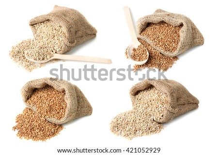 a collage of different grains in bags with wooden spoons on a white background