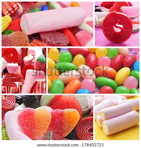a collage of different kinds of candies - stock photo