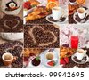 A collage of different photos representing breakfast - stock photo