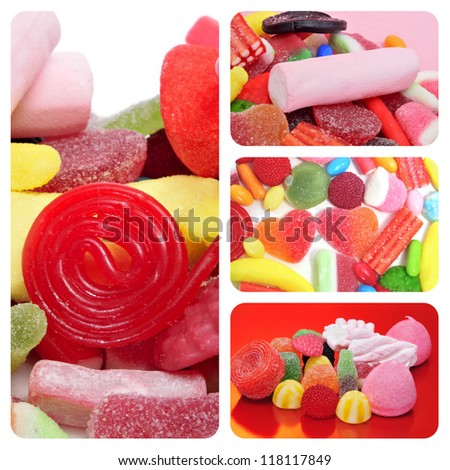 a collage of different pictures of candies - stock photo