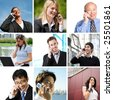 A collage of diverse business people talking on the phone - stock photo