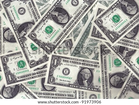 a collage of dollar banknotes - stock photo