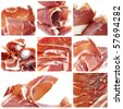 a collage of eight pictures of jamon serrano - stock photo