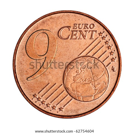 A collage of  9 euro cent coin - stock photo