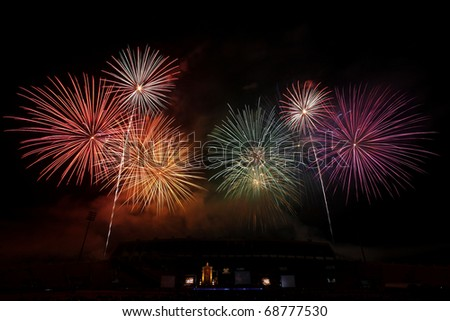 A collage of exploding colorful fireworks in new year holiday anniversary - stock photo