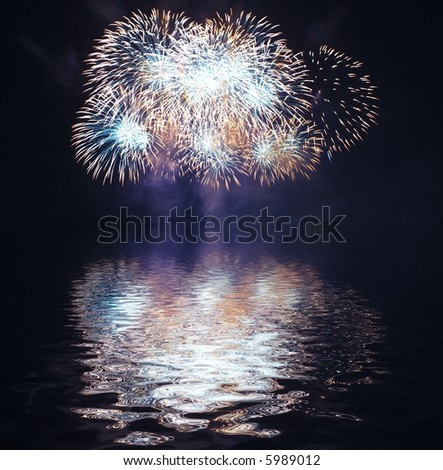 A collage of exploding fireworks - stock photo