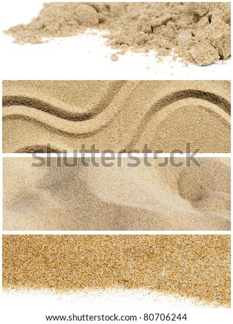 a collage of five different pictures of sand