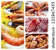 a collage of four pictures of different spanish tapas and dishes, such as paella, jamon or fabada - stock photo