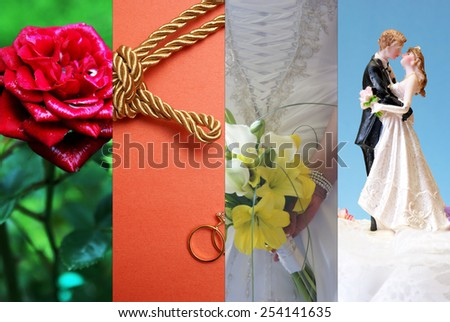 A collage of images relating to the ceremony of wedded bliss. - stock photo