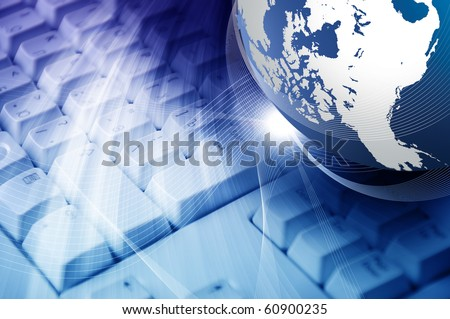 A collage of keyboards and the planet earth. The symbol of high technology - stock photo