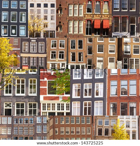 A collage of many typical building facades and windows from Amsterdam, The Netherlands.
