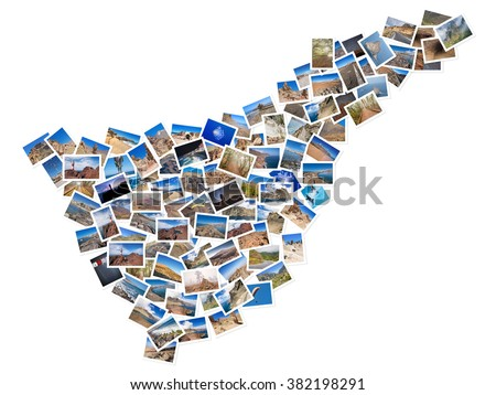 A collage of my best travel photos of Tenerife, forming the shape of Tenerife island, version 4. - stock photo
