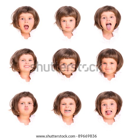 A collage of nine faces of a four year old girl over white background - stock photo