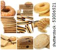 a collage of nine pictures of different biscuits and pastries - stock photo