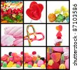 a collage of nine pictures of different candies - stock photo