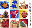 a collage of nine pictures of different Christmas items - stock photo