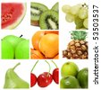 a collage of nine pictures of different fruits - stock photo