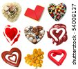 a collage of nine pictures of different kinds of hearts - stock photo