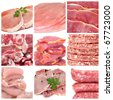 a collage of nine pictures of different meat products - stock photo
