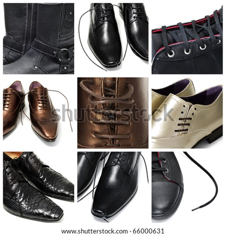 a collage of nine pictures of different men shoes - stock photo